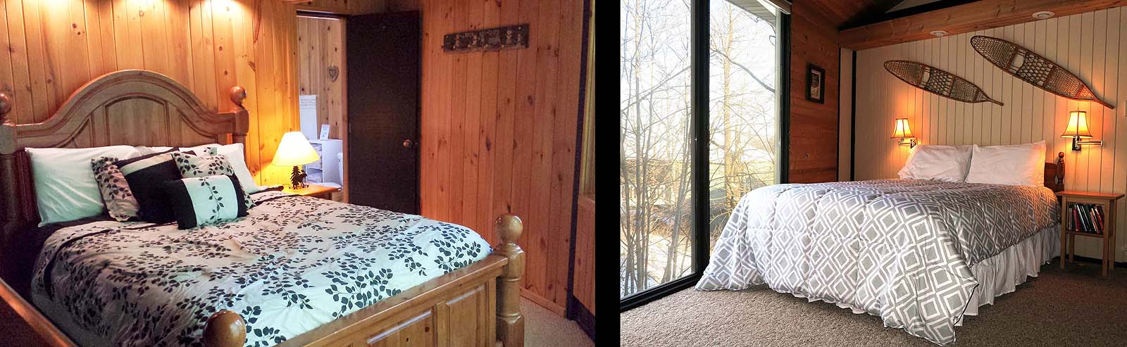 A view inside of two Mountain Villas showing a Master bedroom with bath, and a bedroom with a great view